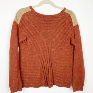 Hinge Burnt Orange Cable Knit Sweater Patch Small